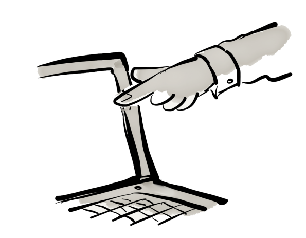 A cartoon showing a finger pointing at a laptop screen