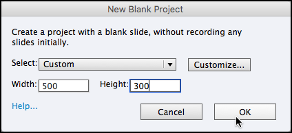 New Blank Project in Captivate 7 - 2