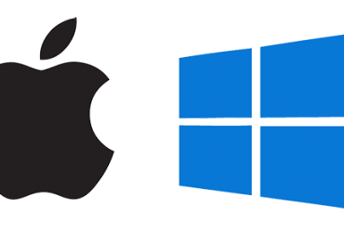 Apple and Windows 10 logo side by side