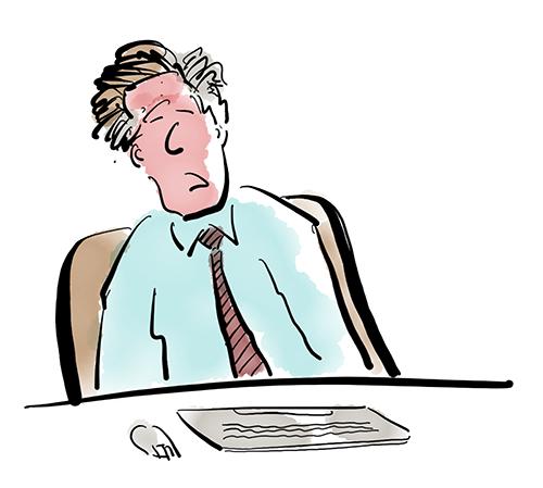 A cartoon of a bored man at a keyboard