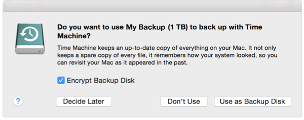 Dialog box that appears when you add an external drive to a Mac
