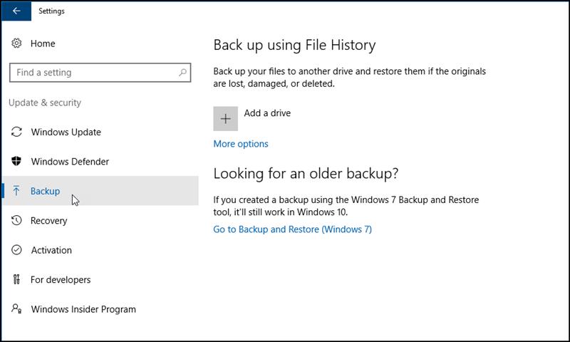 Windows backup dialog