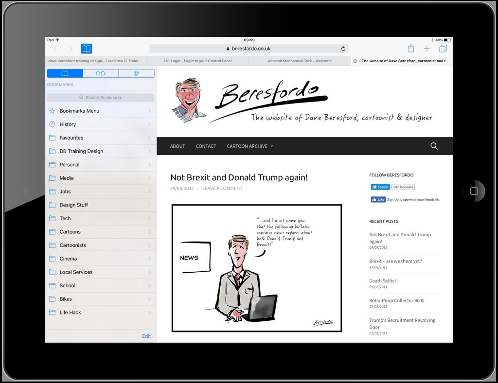 Beresfordo.com on an iPad