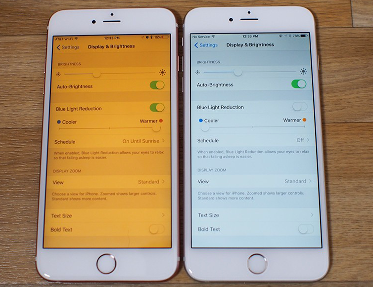 Comparison between max and min nightshift setting on an iPhone