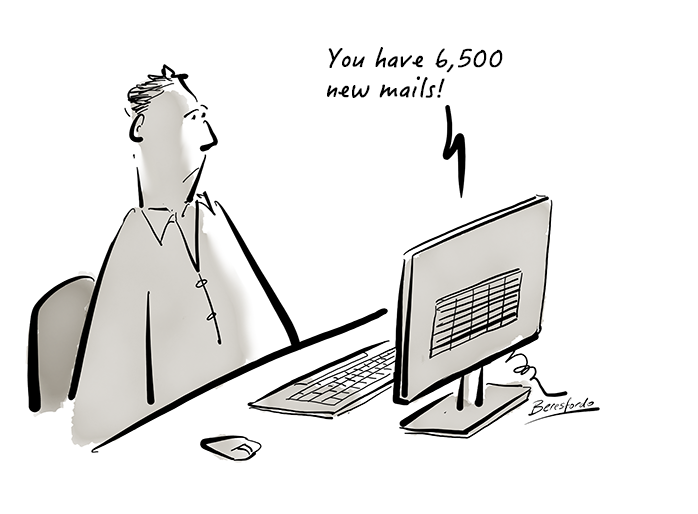 Cartoon showing a guy with 6500 new mails