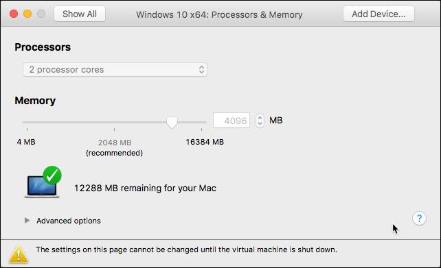 Screenshot of VMWare VM resources setting