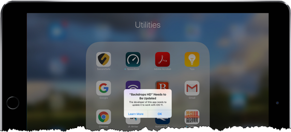 Screenshot of an App that doesn't run on iOS11