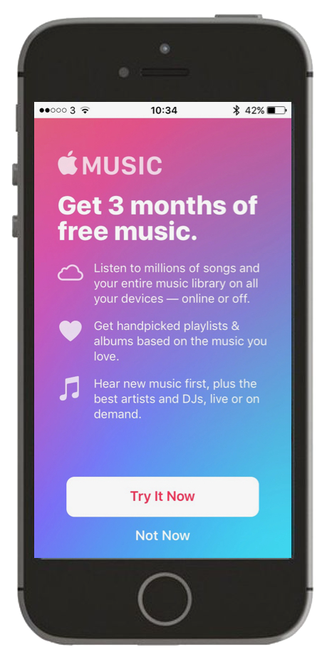 Screenshot of Apple Music subscribe page