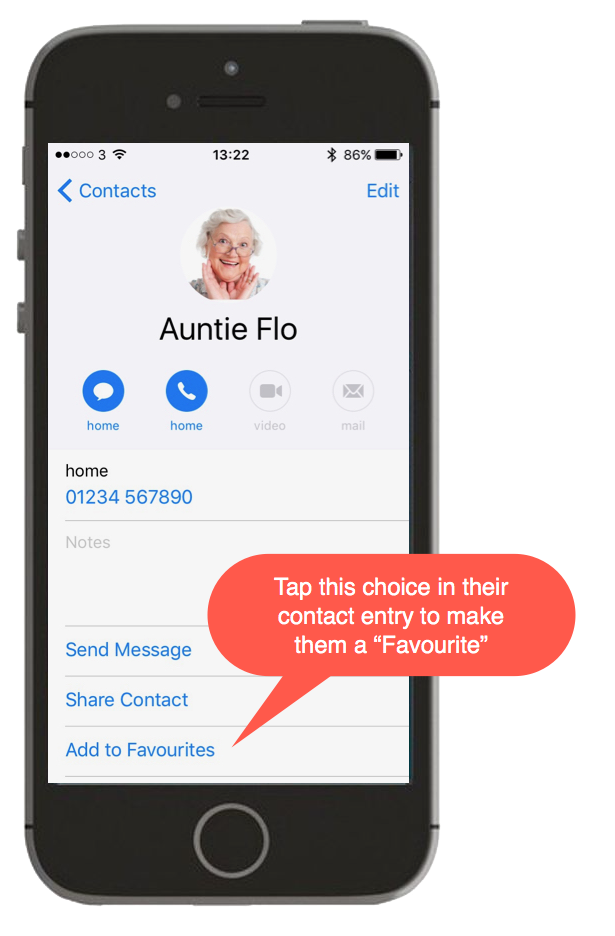 Screenshot of a contact being made a favourite