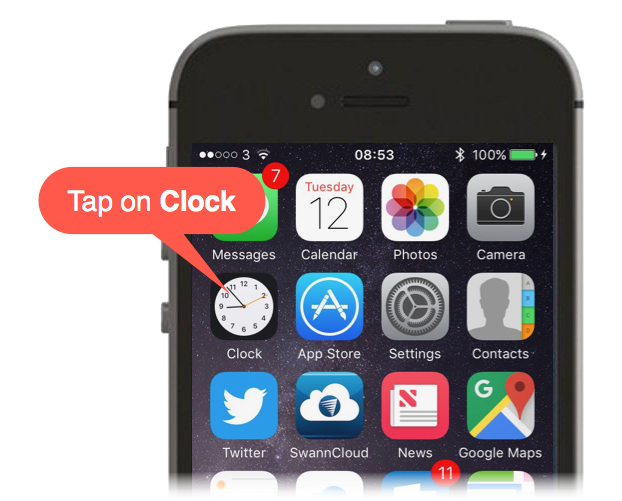 Tapping on the Clock App in iOS