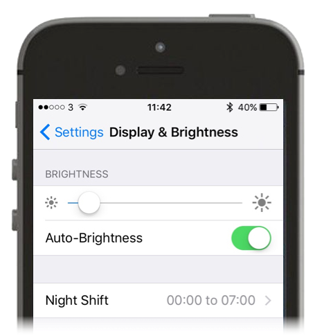 Screenshot showing Display and Brightness on an iPhone