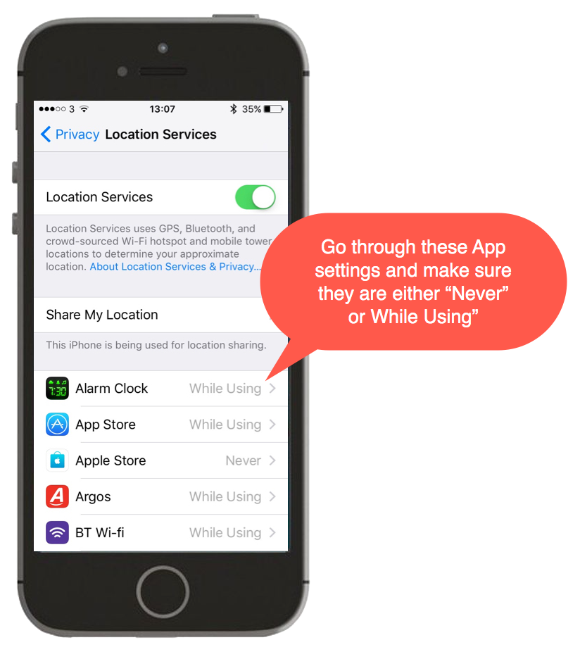 Screenshot showing Location Services on iPhone