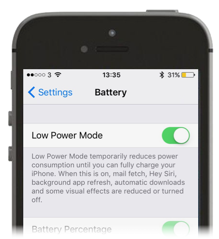 Screenshot of Low Power mode on iPhone