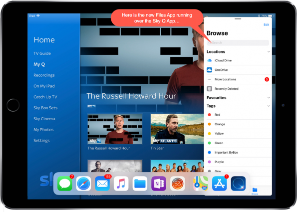 Screenshot showing Files App multitasking over Sky Q