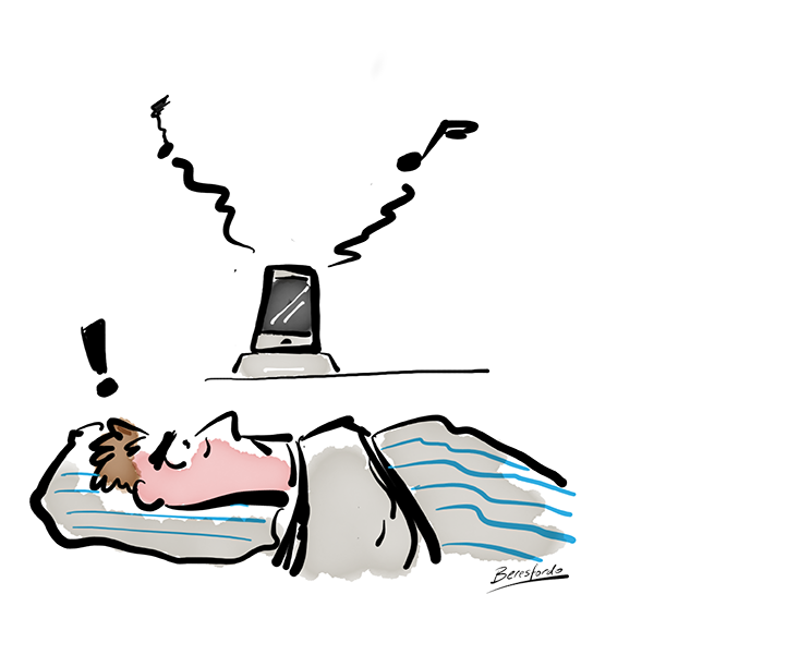 Cartoon showing a guy kept awake by his iPhone