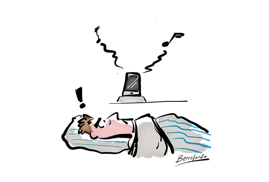 Cartoon showing a guy kept awake by