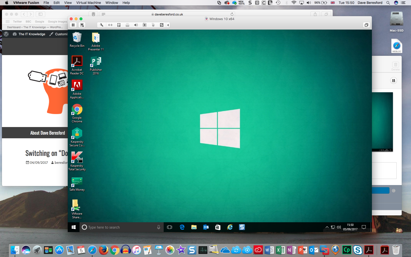 A screenshot of Windows 10 running on a Mac as a virtual machine