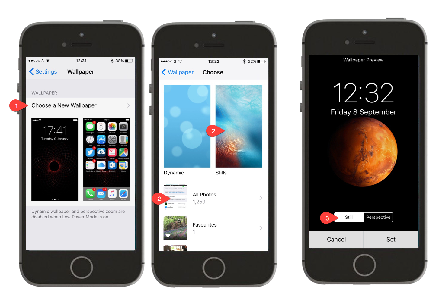 Screenshots showing how to set wallpaper on an iPhone