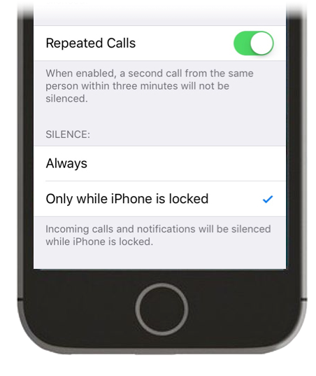 A screenshot of the Silence setting in Do Not Disturb