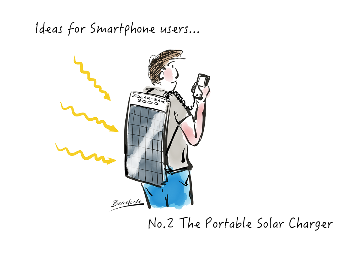 Cartoon showing a solar backpack charger on a smartphone user