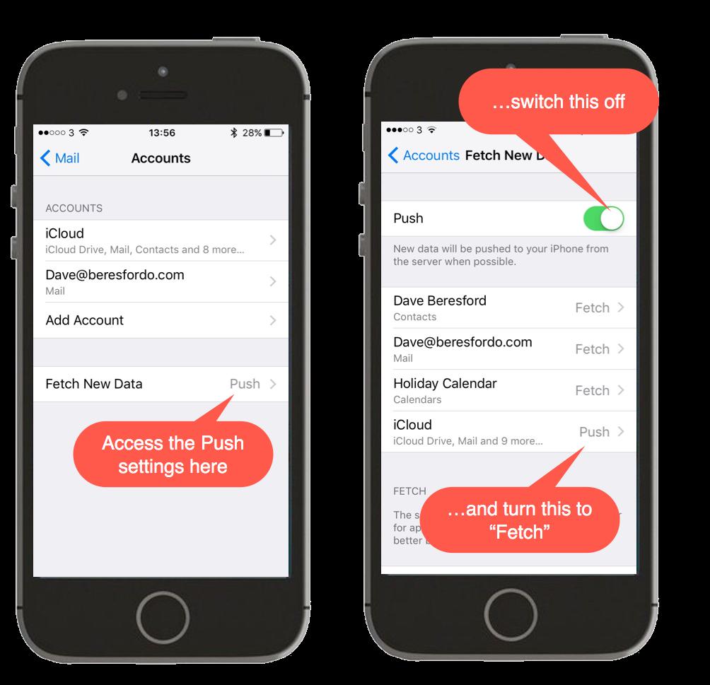 Screenshot showing Push setting in iOS mail