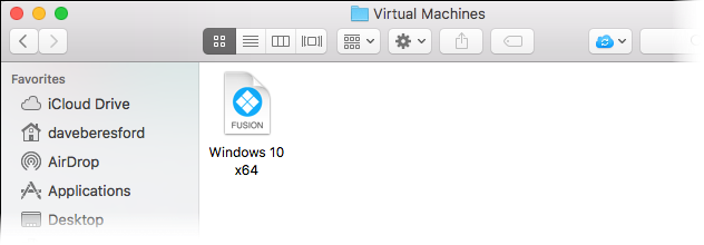 Screenshot showing a VM as a file