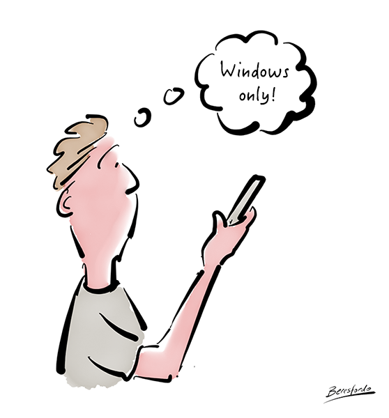 Cartoon of man looking at software that is Windows only