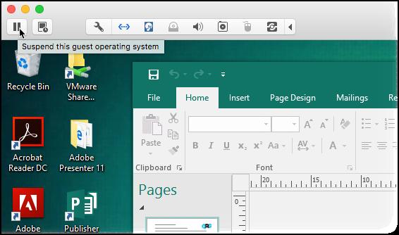 Screenshot of pausing a VM