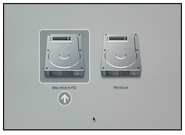 Screenshot of boot-up screen for Boot Camp Mac