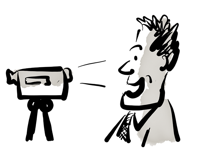 Cartoon showing someone videoing themselves