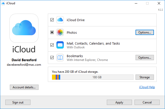 Screenshot of iCloud for Windows settings