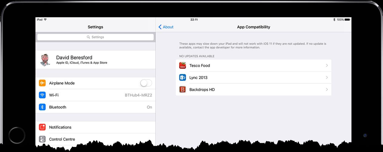 screenshot of older Apps on iPad that won't run on iOS11