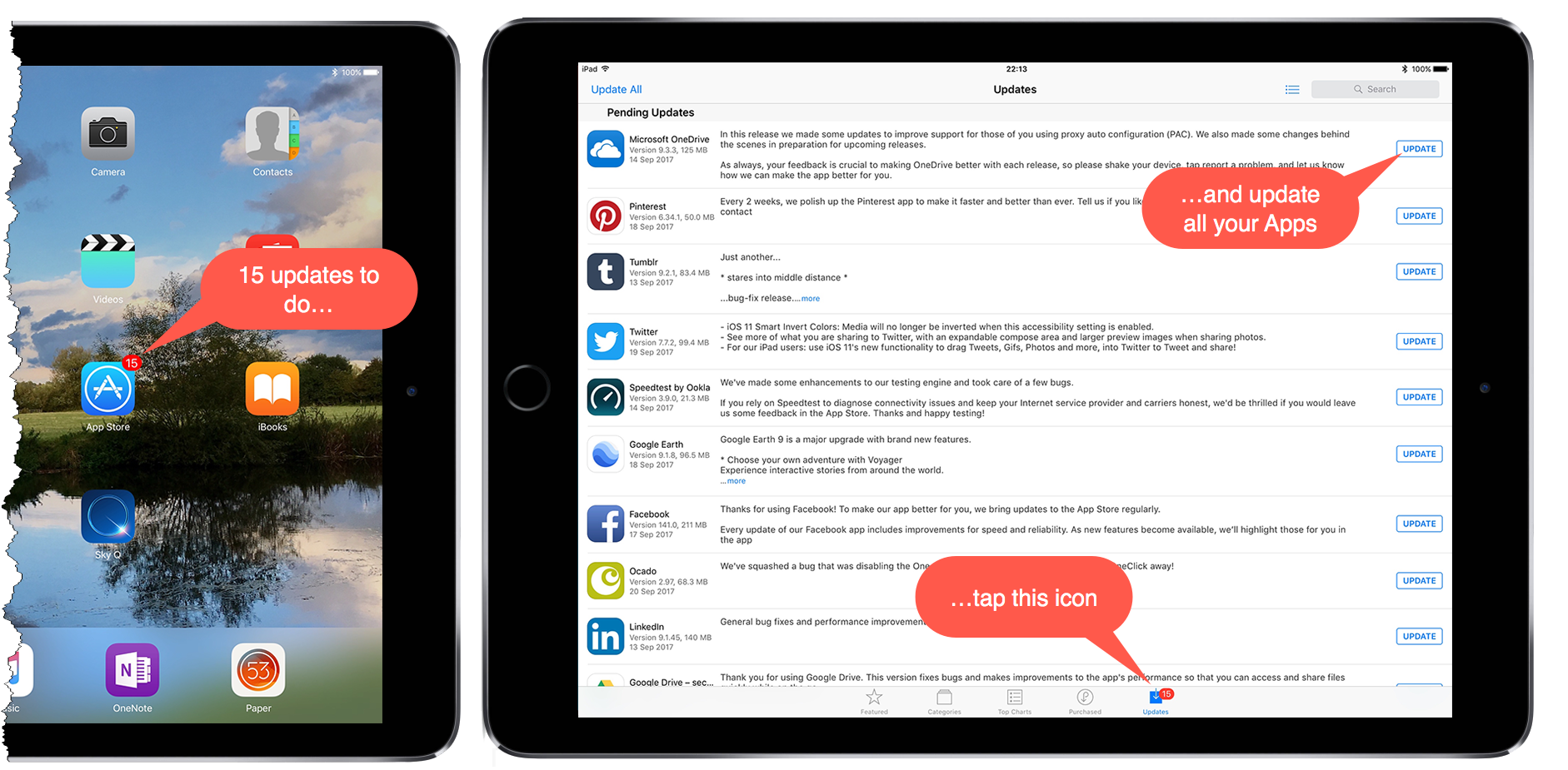 Screenshots of an iPad and it's App updates