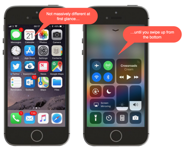 Screenshot of first look at iOS 11 on iPhone