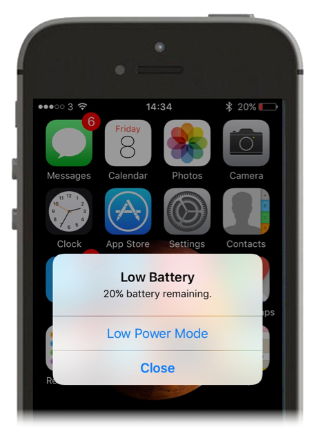 Turning on low power mode on an iPhone