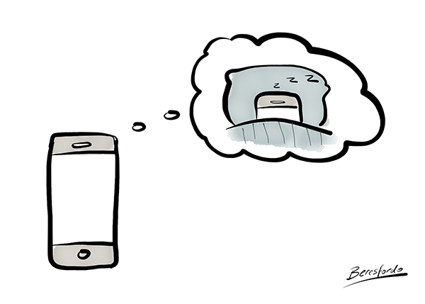 A cartoon showing an iPhone dreaming of bedtime