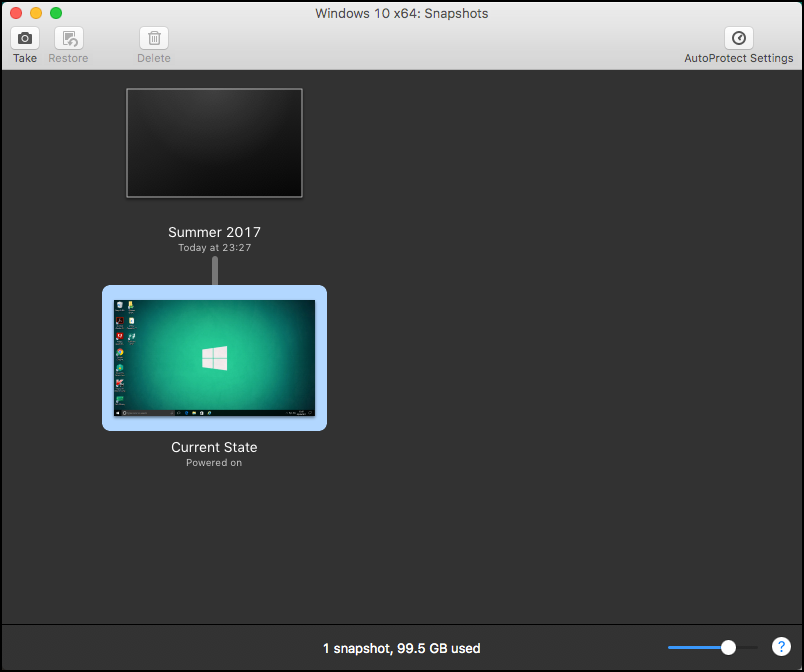 Screenshot of snapshots in VMWare Fusion
