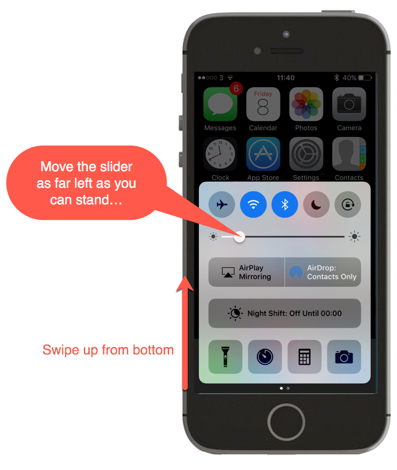 Screenshot showing swipe up from bottom on an iPhone