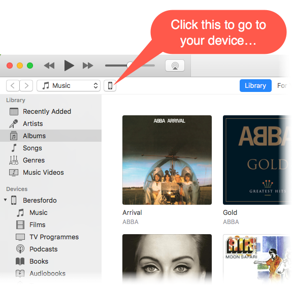 screenshot of syncing to iTunes