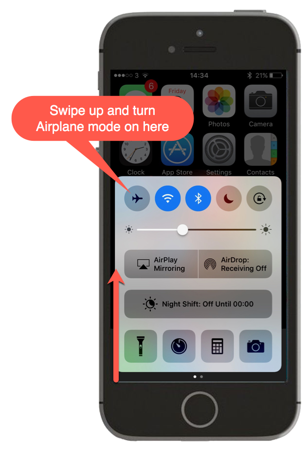 Screenshot showing how to turn airplane mode on