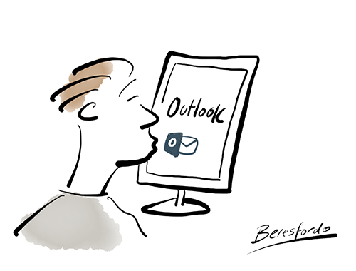 Cartoon showing a guy kissing Outlook