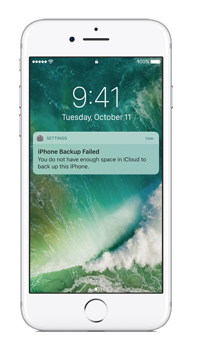 iPhone showing that backup has failed because of not enough iCloud storage