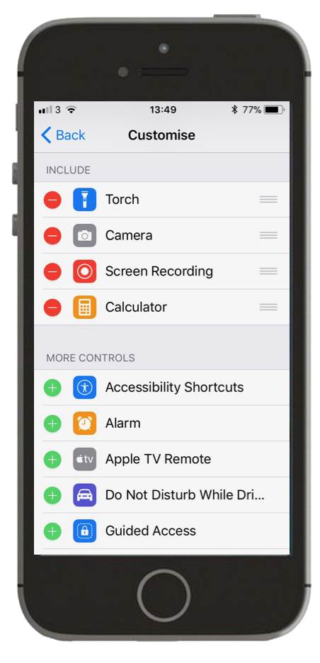 Screenshot of customising Control Centre settings