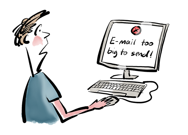 Cartoon showing a computer telling you the mail is too big to send