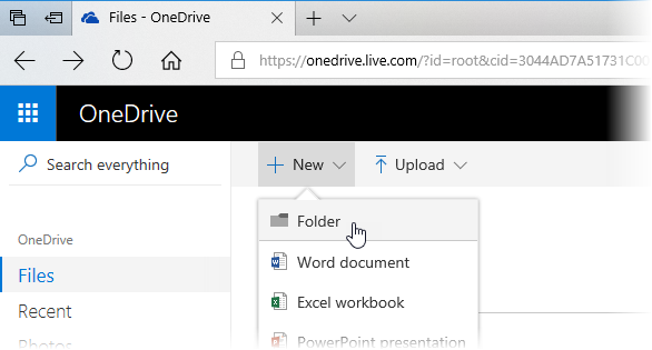 Screenshot showing a folder being created in OneDrive
