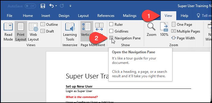 Screenshot showing Navigation Pane selected