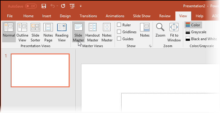 Screenshot - going to the Slide Master in PowerPoint