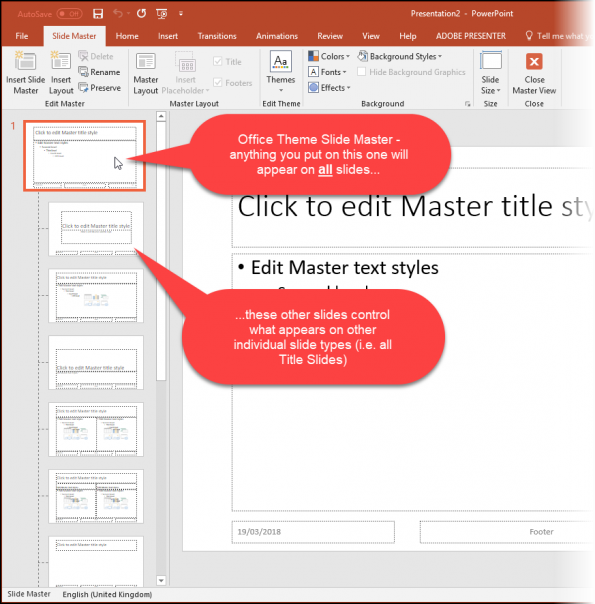 Screenshot of the Master Slides View
