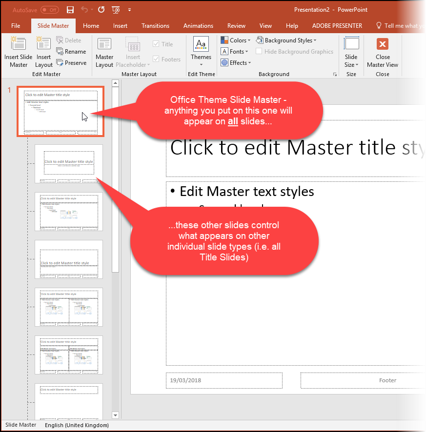Screenshot of the Master Slides View