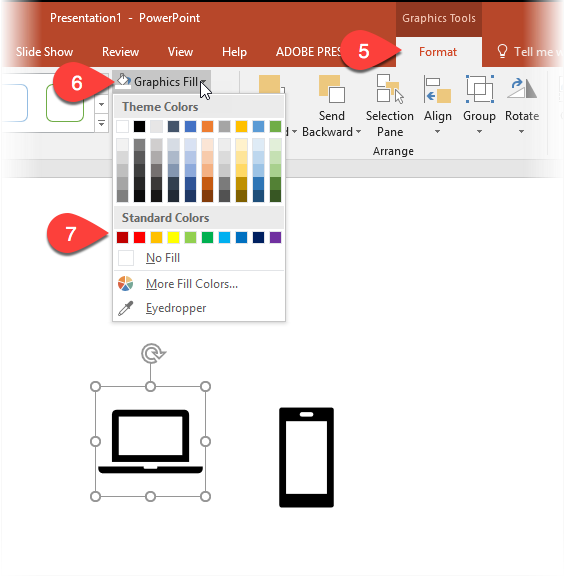 Screenshot showing icons having their colour changed